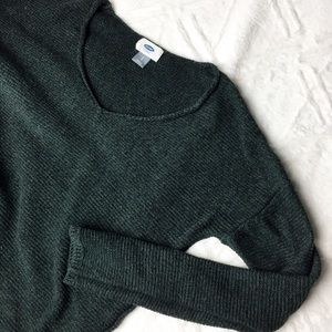 Old Navy V-Neck Knitted Tunic Sweater Dark Green